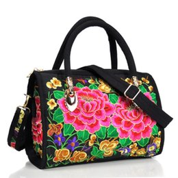 Dual sling online shopping - Retro ethnic embroidery flower portable slung dual use drum bag canvas embroidery flower cloth bag travel shoulder portable hand