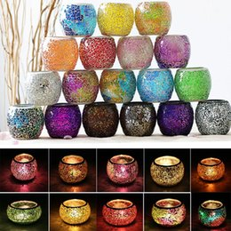 lanterns holder 2019 - Crystal Mosaic Glass Candle Holder Candlestick Centerpieces For Valentines Day Wedding Decoration Candle Lantern Not Can