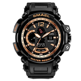 Men S Big Watch Australia - Smael Watch 50M Waterproof S Resitant Sport Watches saat Digital Clock Men Army 1702 Big Men Watch Sport