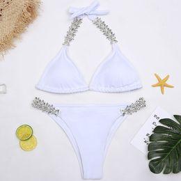 6bcacb15664 Hot Sell 2018 Women Sexy White Handmade Diamond Swimsuit Brazilian Swimwear  Swimwear Padde Brazilian Bathing Suit Girls Swimming Wear