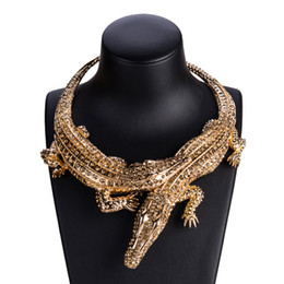 Venta al por mayor de Punk Collar Collar Vintage Gargantilla Hippie Boho Bib Chunky Declaración Collares Festival Gypsy Jewelry Full Rhinestone cocodrilo colgante de regalo