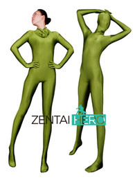army green bodysuit Canada - Free Shipping NEW Halloween Party Army Green Sexy Costumes Full Bodysuit Lycra Zentai Suit For Woman Plus Size AXA062