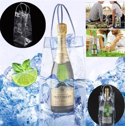 Wholesale Portable PVC Ice Bag Wine Storage Bottle Drinking Wine Bottle Ice Bag Cool Holder Party Picnic Drink Beer Cooler Carrier Clear Barware I257