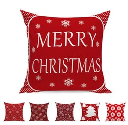Christmas Red White Bedding NZ - Red Christmas Pillow Case Cozy Christmas snowflake pattern design White Christmas tree Cotton Blend Pillowcases Home Bed Sofa Car decorate