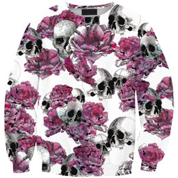 $enCountryForm.capitalKeyWord Canada - Wholesale free shipping Women Long Sleeve Rose Skull Cartoon Anime 3D Printing Long Sleeve Hip Hop Hoodies Pullover Top Clothing