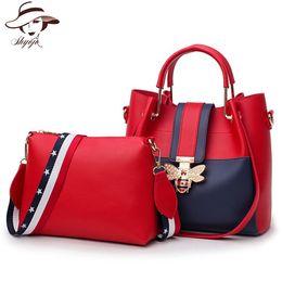 5ab15db914 Women Famous Brands 2PCS Set Shopping Bag Bee Black Tote Ladies Pear  Leather Shoulder Bags For Women Handbags Sac a Main Femme