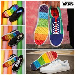 d717e2a06318fd 2018 VANS Old Skool Rainbow Skate Sneakers Colorful Soles Mens Women Sean  Wotherspoon zapatillas de deporte Canvas Casual Shoes Size 36-44
