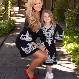 $enCountryForm.capitalKeyWord Australia - Mommy and me clothes Geometric Three Quarter Mini Dress Mother daughter dresses matching outfits Mom and daughter dress