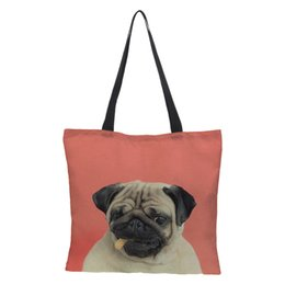 $enCountryForm.capitalKeyWord Australia - Lady's Foldable Handbag Shoulder Bags Beach Bag Dog Prints Women's Shopping Bag linen Soft Fashion Zipper Hand Totes for Summer