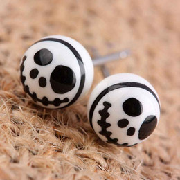 black gothic earrings NZ - SUNYIK White & Black Skull Head Round Ball Gothic Punk Rock Stud Earrings