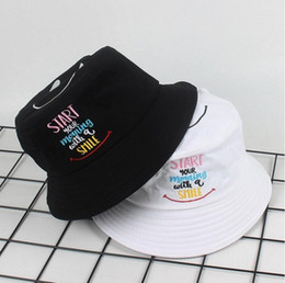 adult fish hats Canada - START YOU MORING WITH A SMILE embroidery bucket hat For men women summer fishing hat Adult panama bucket hat lovers flat