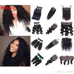 natural body brazilian hair 2019 - 3 Bundles with Frontal Closure Rabake Brazilian Virgin Human Hair Bundles with Closure Deep Wave Body Wave Curly Weave H