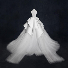 Wholesale Gorgeous Ball Gown Wedding Dresses With Sheer Neckline Tiered Peplum Tulle Satin Bridal Dress long Train Beach Wedding Gowns Sexy Back