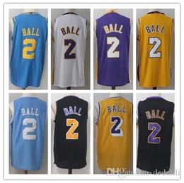 2018 NCAA College New Men 2  Lonzo Ball Basketball Jerseys Retro Stitched  Second Place Lonzo Ball Blue Black Yellow Jersey Size S- XXL fa1b95016