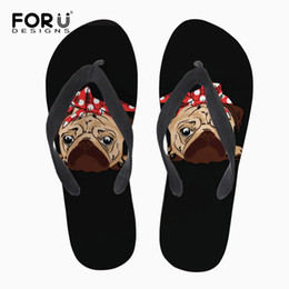 454a7dc2c9a6 wholesale Black Puppy Pug Dog Print Flip Flops for Women Cute Soft Summer Beach  Slippers Personalized Rubber Ladies Flipflops
