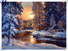 Mosaic eMbroidery online shopping - 5D Diamond embroidery sunset snow forest lake diy diamond painting cross stitch kit resin full round square diamond mosaic home decor yx2582