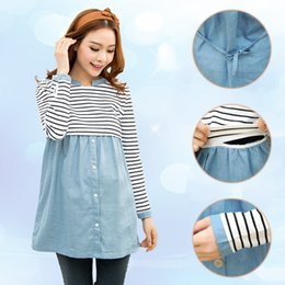 striped shirts for women 2018 - Fashion Spring Maternity Clothes Patchwork Long Sleeve Nursing T-Shirts For Pregnant Women Striped Casual Breastfeeding