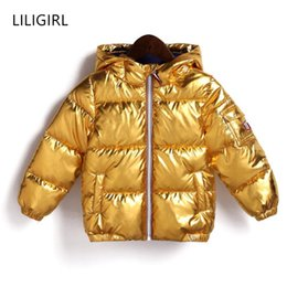 Discount shining jackets - LILIGIRL 2018 New Winter Gold Baby Down-Cotton Hooded Jacket Coat for Girls Boys Silver Shining Warm Thick Tops Clothes