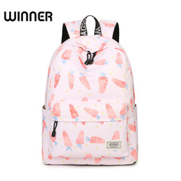 Laptop Cushion Australia - Casual Women Pink Carrot Printing Backpack School Air Cushion Straps for Bags Korean Large Capacity Laptop Girls Knapsack
