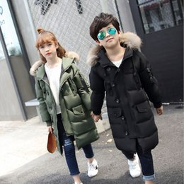 Jackets For Teens Canada - White Duck Down 2018 New Children Winter Padded Jacket Long Sections Teen Boy Big girls Thick Coat Jacket for Kids 5-16 Years