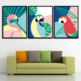 Discount colorful pop art - Painting Pop Minimalism Pictures Wall Art Print Nordic Style HD Canvas Cartoon Colorful Bird Poster For Living Room Home