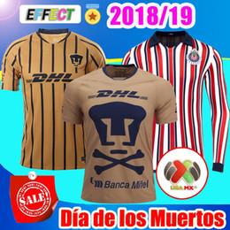 7939e24a594 2018 Mexico Club UNAM 18 19 Camiseta Día de los Muertos Home Soccer Jerseys  kit 2019 Chivas especial World Cup Castillo Football Shirts