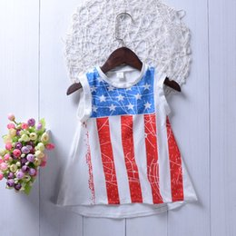 July Dresses Canada - Fourth of July Toddler KidS Girls Princess Dress Summer Casual Holiday Party Sundress Independence Day Boutique Kid Girl Clothes