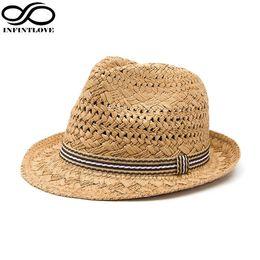 cd0469df1f5 LUCKYLIANJI Summer Fashion Handmade Women s Beach Boho Fedora Straw Hat Sun  Hat Sunhat Men Jazz Hat Gangster Cap (One Size 58cm)