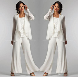 $enCountryForm.capitalKeyWord NZ - Elegant White Chiffon Lady Pants Suits Mother of The Bride Groom With Jacket Plus Size Women Party Dresses Trouser Suit Custom Made