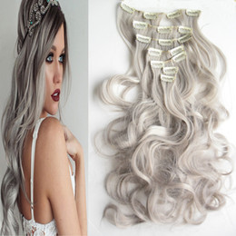 "Discount inch clip hair extensions - Length 55cm 130g 7pcs set 22"" Silver Gray Hair Extensions Synthetic Clip In Hair Extensions Curly Wavy Synthetic Ha"