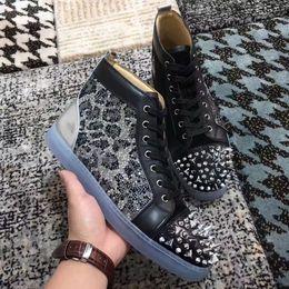 8c30954f61ff Fashion Pik Pik Spikes Sneaker Shoes High Top Red Bottom Men s Casual  Flats
