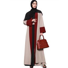 Cardigan Dresses UK - 2019 New Fashion Women Muslim Cardigan Spliced Crochet Long Sleeve Islamic Abaya Elegant Maxi Dress Outwear With Belt Beige