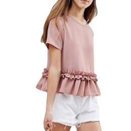 $enCountryForm.capitalKeyWord Australia - Women T-Shirts 2018 Summer Fashion Sexy Short Sleeve Soild Ruffles tshirt Tops T-shirt Lace O-Neck Polyester