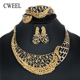 NigeriaN jewelry sets for weddiNg online shopping - CWEEL Jewelry Sets For Women Wedding Dubai African Beads Jewelry Set Necklace Earrings Nigerian Bead Cheap Jewellery