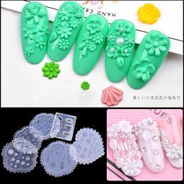 1 pc 3d Acrylique Poudre Sculpture Moule Silicone Nail Art Fleur Emboss Gabarit Manucure DIY Accessoire Nouvelle Arrivée 6 Style Design