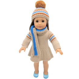 China 45cm tall american doll clothes sweater dress with hats and long scarf for child party gift toys--Doll Clothes Accessories for 18 inch doll suppliers