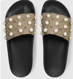 e948bc573 Designer sandals with pearl women men designer slippers clip feet flip  style European Tiger lines style Shoes luxury brand sandals with box