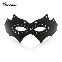 Chinese  Morease Black Mask Eye Blinder Flirting Leather Blindfold Fetish Adult Game for Couples Slave Queen Role Play Erotic Sex Toy S924 manufacturers