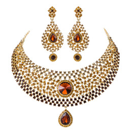 necklace sales Australia - wedding jewelry sets Hot Sale brown crystal Rhinestone India Style Bridal necklace earrings Dinner Statement jewelry accessories
