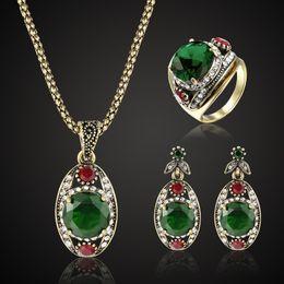 $enCountryForm.capitalKeyWord NZ - Zlxgirl jewelry Women's Vintage wedding jewelry sets best bridal pendant & earring accessory sets antique gold chain pendant set