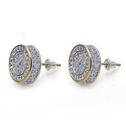Vintage copper earrings dangle online shopping - Hiphop Stud earrings for women men gifts Luxury boho Zircon round Dangle earrings gold plated Vintage geometric Jewelry new