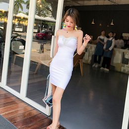 393040b6d0 Wholesale Sexy Lady Delicate Beading Strapless Backless Nightclub Mini Dress  Women Bodycon Short Party Dresses Summer New White Red Blue