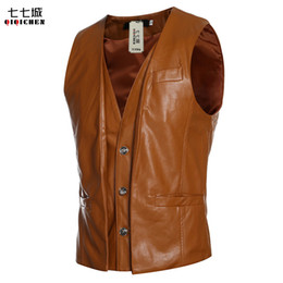 Discount motorcycle vests - High quality Men's PU Leather vest Clothing Motorcycle Vest Punk Sleeveless Jacket New 2017
