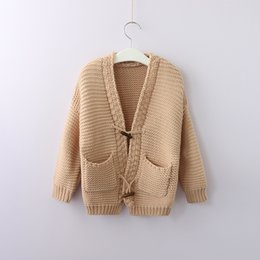 Wholesale mixed buttons clothes for sale - Group buy 2018 INS Kids Knit Cardigan Sweaters Jacquard Horn button Pockets Boutique Girl clothing cotton White Khaki Autumn Winter
