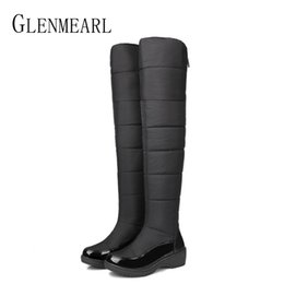 63ff4acec1d High Boots Women Over The Knee Winter Shoes Platform Snow Boots Woman Plush  Warm Zipper Down Waterproof Ladies Shoes Plus Size