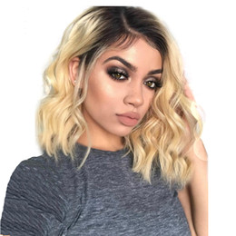 Remy human haiR shoRt wavy wig online shopping - LIN MAN Short Wavy Brazilian remy Human Hair Lace Front Wig Ombre blond B Bob Cut Lace Wig Pre Plucked Baby Hair