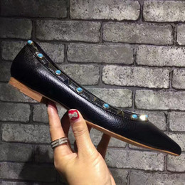 pointy flats shoes 2019 - tailor made 34-42genuine leather nude pointy flats shoes ballerinas luxury designer