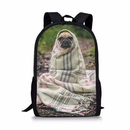 China Funny Lovely Pug Dog Printing backpack school bag for teenager girls boys student orthopedic schoolbag satchel back to school cheap teenager backpacks suppliers