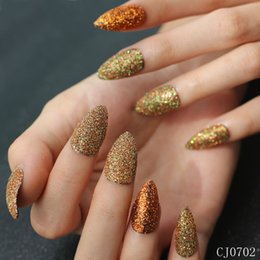long french tip nails 2019 - 24 pieces of French nail tips long gold glitter fake acrylic nail art tips CJ07 discount long french tip nails