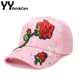 0804f5af32f Shiny Rose Flower Baseball Cap Embroidery Sequins Floral Hats For Womens  Summer Sun Hat Female dad Hat Snapback Hats YY17138